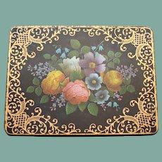 Vintage English Biscuit Tin, Flower Spray in Rich Tones