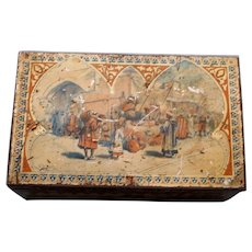 Rare Antique Huntley and Palmer English Biscuit Tin, Exotic Scenes From the East