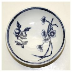 Royal Worcester Blue & White Floral Butter Pat 1883