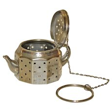 Vintage American Metal Crafts Tea Ball Shaped as Teapot
