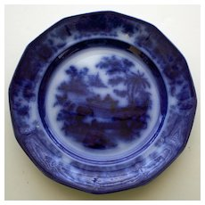 "Antique Flow Blue Plate in ""Tonquin"" Pattern by J. Heath"