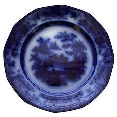 "Antique Flow Blue Plate in ""Tonquin"" Pattern by J. Heath"