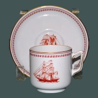 Pair of Copeland Spode Trade Winds Red Demitasse Cups & Saucers, Old Marks