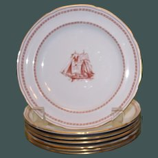 """Vintage Spode """"Trade Winds"""" Red Bread  Plate, 6 Available"""