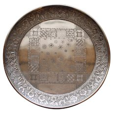 Antique Meriden Silver Plate Tray, Geometric and Botanic Design