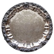 Antique R. S. & Co. Nickel Silver Tray, Grapes Motif, 10.5 Inches