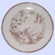 "1862-1890 Antique Aesthetic Brown Transferware Ashworth Bowl , ""Trentham"""