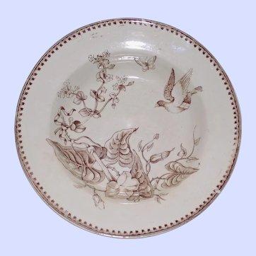 "1862-1890 Antique Aesthetic Brown Transferware Ashworth Bowl , ""Trentham"""