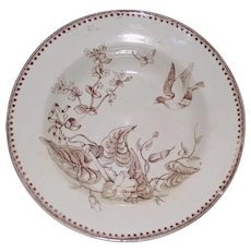 "1862-1890 Antique English Aesthetic Brown Transferware Ashworth Bowl , ""Trentham"""