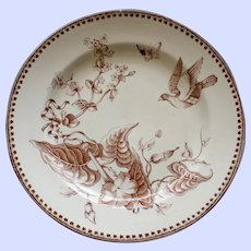 "1862-1890 Antique Aesthetic Brown Transferware Ashworth Plate , ""Trentham"" # 1"