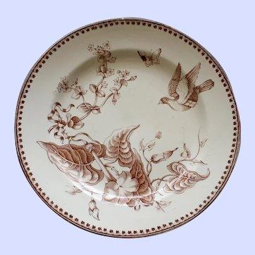 "1862-1890 Antique Aesthetic Brown Transferware Ashworth Plate , ""Trentham"" # 1"