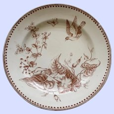 "1862-1890 Antique Aesthetic Brown Transferware Ashworth Plate , ""Trentham"" # 3"