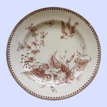 "1862-1890 Antique Aesthetic Brown Transferware Ashworth Plate , ""Trentham"" # 3"