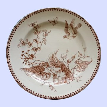 "1862-1890 Antique Aesthetic Brown Transferware Ashworth Plate , ""Trentham"" # 2"