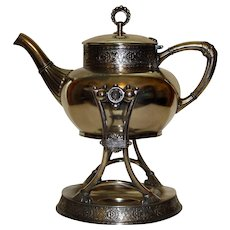Antique Jame W. Tufts Tufts Tilting Teapot on Original Stand