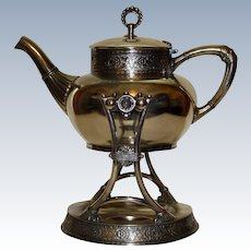 Antique JameS W. Tufts Tilting Teapot on Original Stand