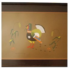 Native American Pochoir of Turkey by Richard Martinez, Framed & Matted