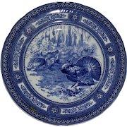 Antique Royal Doulton Turkey Plate, Splendid Group of Turkeys