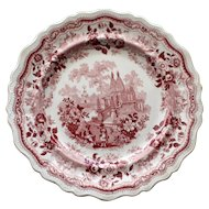 "c.1830 Red  Transferware Plate by Adams, ""Temple Warriors"""