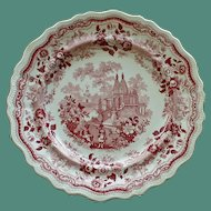 "c.1830 William Adams & Sons ""Temple Warriors"" Red Transferware Plate"