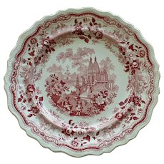 "c.1830 William Adams & Sons ""Temple Warriors"" Red Transferware Plate"