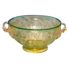 Vintage Venetian Glass Bowl with Swans