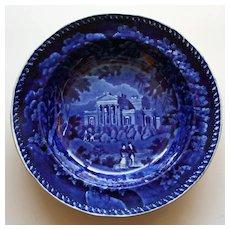 Antique Historical Dark Blue Transferware Plate of Villa in London