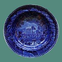 "c.1830 Clews Antique Historical Blue Transferware Plate, ""Villa in the Regent Park London"""