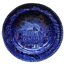 "c.1830 Clews Antique Historical Blue Transferware Plate, ""Villa in the Regent Park London"""