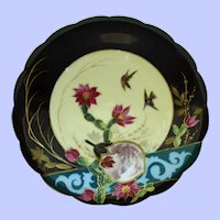 Striking Aesthetic Antique Plate with Birds and Fan