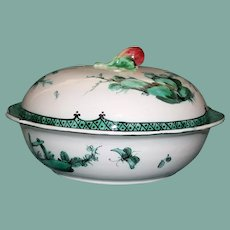 Antique Veuve Perrin French Faience Chinoiserie Covered Bowl, Fishermen, Dragonflies, Butterflies, Birds