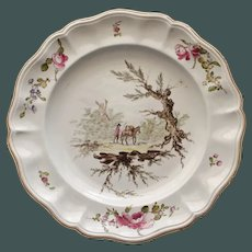 Antique French Veuve Perrin Plate One, Man and Pack Animal