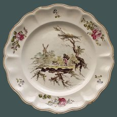 Antique French Veuve Perrin Plate Three, Man with Backpack and Dog