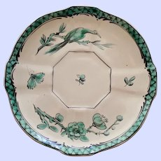 Antique Veuve Perrin French Faience Emerald Saucer #1, Bird & Insect