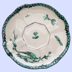 Antique Veuve Perrin French Faience Emerald Saucer #2, Bird & Insects
