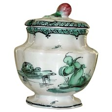 Antique Veuve Perrin Covered Sugar with Chinoiserie Turtle Scene