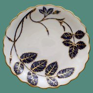 Antique Minton 6.5 Inch Plate with Enameled Cobalt and Gilt Leaves