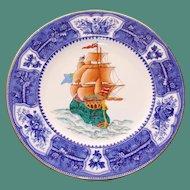 Antique Wedgwood Plate with Impressive Enameled Sailing Ship