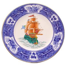 Antique Wedgwood Plate with Impressive Enameled Sailing Ship