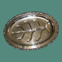 Vintage American Well and Tree Silver Plate Platter, 22 Inches by 16 Inches