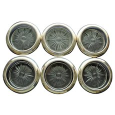Set of 6 Whiting Sterling and Glass Coasters