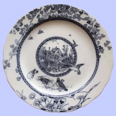 """Antique """"Woodland"""" Brownfield & Sons Transferware Plate, c. 1889"""