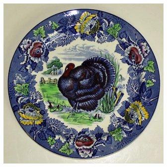 Thanksgiving Blue Turkey Plate by Wood's Burslem England