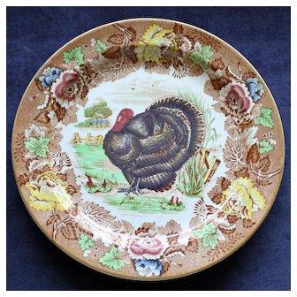 Wood's Burslem Antique English Brown Turkey Thanksgiving Plate