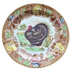 Wood's Burslem Antique English Polychrome Transferware Turkey Plate