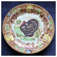 Wood's Burslem English Brown Turkey Thanksgiving Plate