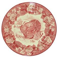 Wood's Burslem Antique English Red Transferware Turkey Plate