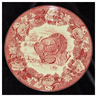 Wood's Burslem Antique EnglishThanksgiving Red Turkey Plate