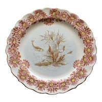 Antique Royal Worcester Fish Plate with  Seaweed, 1888