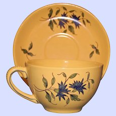 Antique French Faience Yellow Cup & Saucer, Hand Painted